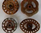 Vintage Valve Handles-Shipping Special-Rustic SteamPunk - Industrial Handles- Set of 4 Unique Steel Vintage Valve  Handles/Faucet Handles
