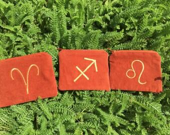 Handmade FIRE Zodiac Element zipper pocket pouch Wallet, Leo, Aries, Sagittarius, card pouch, change bag, mp3 player, iPod Nano, OOAK