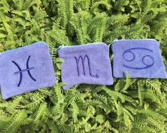 Handmade WATER Zodiac Element zipper pocket pouch Wallet, water elements, Pisces, Cancer, Scorpio, card pouch, change bag, mp3 player, iPod