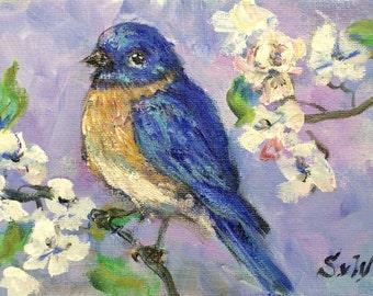 "Bluebird painting original art 5 x 7"""