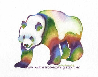 Panda Painting, Panda Print, Watercolor Panda, Panda Poster, Panda Art, Nursery Wall Art, Kids Room Decor, Animal Wall Art, Baby Shower Gift
