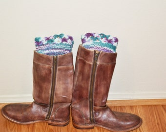 Cotton Boot Cuffs, Crochet Toppers, Boot Socks, Faux Leg Warmers, Stretchy, Made in the USA,