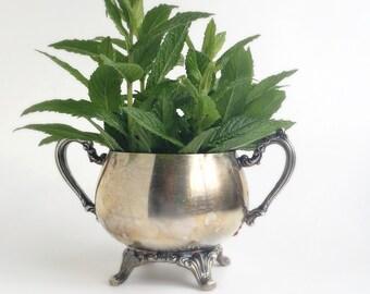 Silver plated Oneida Sugar Bowl, condiment bowl, trinket dish, shappy chic, vintage decor