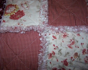 Full Size Rag Quilt - Red Waverly Rag Quilt - Standard Size Rag Quilt - Rag Quilt - Waverly Rose Rag Quilt - Red Rose Rag Quilt