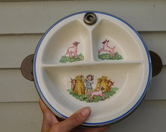 Antique Divided Baby Warming Dish With Bakelite Handles, Nursery Rhyme Bowl, Little Boy Blue