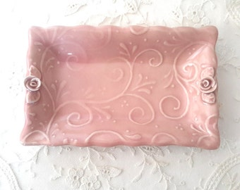 Handmade Trinket Dish //  Pink Trinket Dish with Roses Vines and Leaves // Jewelry Holder // Pottery Candy Dish // Ceramic Soap Dish