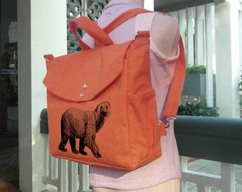 Oranger backpack, canvas backpack, rustic backpack, travel bag, handbag, messenger bag, shoulder bag, hiking bag