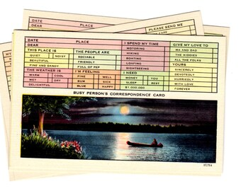 5 Vintage Busy Person's Correspondence Card Unused Blank Postcards