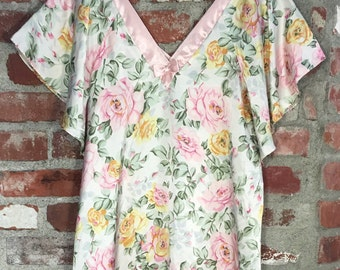 Vintage 70s 80s Lingerie Floral Rose Print Satin Night Gown with V-Neck Size Medium Large
