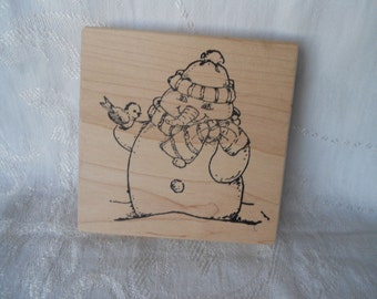 Extra Large Winter Snowman with Bird Stamp - Endless Designs Stamp - Christmas Stamp - Destash - Never Used - Ready to Ship