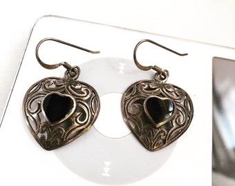 Vintage 925 Sterling Onyx Heart Earrings