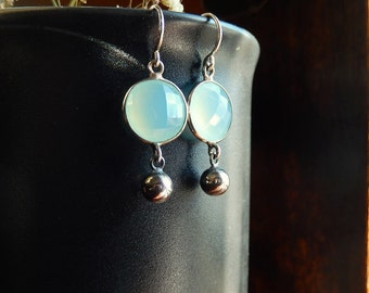 Blue Chalcedony Earrings with Sterling Silver Ball, Summer Jewelry, Natural Gemstone Earrings