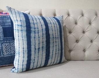 "Hmong Hemp Handmade Fabric Cushion Cover Boho Batik Neon Stripe Vintage Ethnic Tribal 20"" x 20"" Pillow"