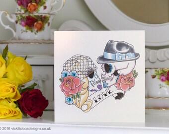 50's Bride and Groom Sugar Skull tattoo anniversary handmade card