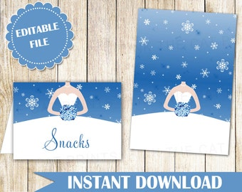Buffet Food Label - Buffet Label - Printable Food Label Labels Food Card Winter Bridal Shower Place Card Blue Seating Card INSTANT DOWNLOAD