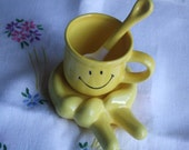 Vintage Porcelain Tea Cup, Spoon and Saucer. Smiley Face Cup. Hand Shaped Saucer and Spoon. Rare and Whimsical.