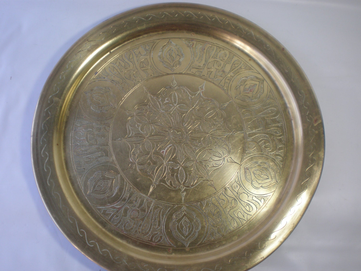 Vintage Large Heavy Round Brass Tray Brass Accent