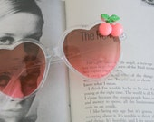 The HEART CHERRY Sunglasses.handmade. retro. colorful shades. hipster. kitsch. shades. summer. cherry. fruit. party. pink heart. twiggy. mod