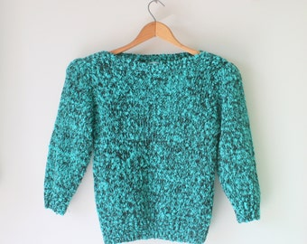 Vintage URBAN Boho Slouchy Crop Sweater....size small to medium...indie. hippie. boho. blue. green. knit. retro. mod. mint. hot. 80s glam