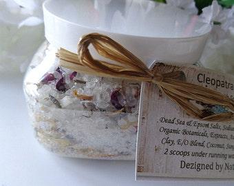 Cleopatra's Flower Petals Bath Salt Soaks, Relaxing, Calming Botanical Relaxing Soaks, 8 oz jar
