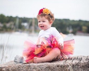 Fall Baby Tutu in Pink Red Orange Black with Flower Headband - Thanksgiving Tutu - Halloween Tutu