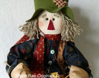 Art Doll ~ Scarecrow Doll ~ Jeb ~ 24 Inches Tall ~ Blue, Green and Red Poseable Scarecrow ~ Autumn Decoration