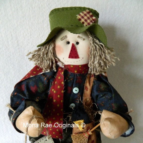 Art Doll ~ Scarecrow Doll 24 Inches Tall ~ Blue, Green and Red Poseable Scarecrow ~ Autumn Decoration