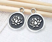 2 of 925 Sterling Silver  Lotus Print Charms 9.8mm. :tm0119