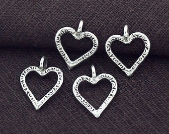 4 of Karen Hill Tribe Silver Imprinted Heart Charms 12 mm. :ka4195