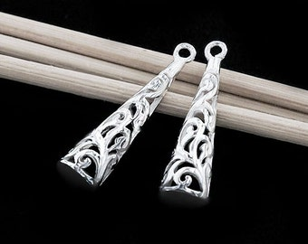 2 of 925 Sterling Silver  Filigree Cone Charms  5.5x20 mm. Polish Finished  :th2448