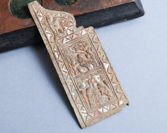Antique metal part of Russian Orthodox Icon, Winged altar