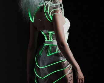 "Clear PVC Glow in the dark Peplum belt (production sample) 26-30"" waist"