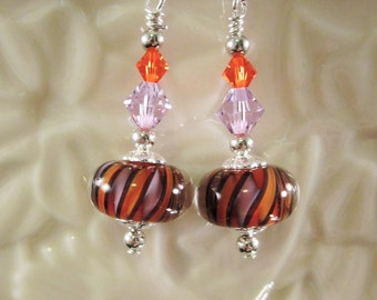 "Sterling Silver Earrings - ""Mardi Gras 2"" -Artisan Lampwork Glass, Swarovski Crystal, Unique, Hand Crafted, One of a Kind, SRAJD, OOAK"