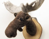 ON SALE Feltfactory faux fauna needlefelted miniature moose mount style fake taxidermy-READY To Ship