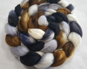 Alpaca/Merino/Tussah Silk Roving-50/30/20-Hand Dyed/Painted - 4 oz - Black, Silver Grey, Brown and Natural White
