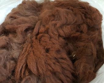 Dark Red Brown Raw Alpaca Fleece - 2 pounds of blanket fleece
