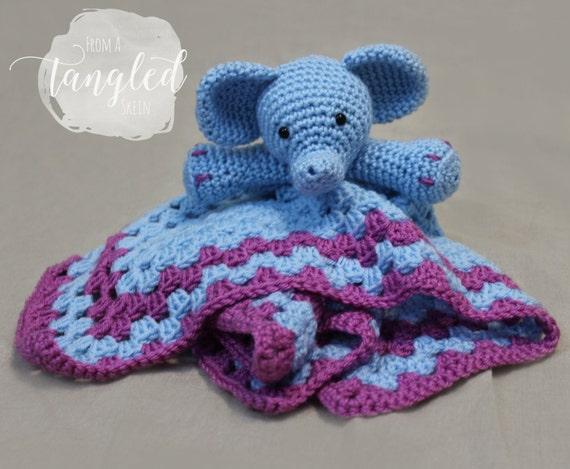 Crochet Elephant Blankie / Security Blanket / ELEPHANT LOVEY