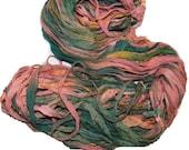 Recycled Sari Silk Ribbon Yarn Green Peach color, 55 yards,  3.5 oz / 100 grams