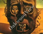 Le Visage de la Guerre Print by Salvador Dali, Face of War, Skull, Vintage 1974 8x11 Color Bookplate Art, Modern Surreal, FREE SHIPPING