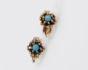 Vintage Antiqued Gold Tone Faux Turquoise Flower Goldtone Romantic Victorian Revival CLIP ON Small Stud Earrings