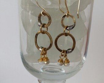 Hand hammered Bronze Double Ring Moonstone Dangle Earrings