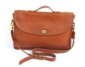 Vintage Coach Messenger // Tan Leather Briefcase // Laptop Bag // USA
