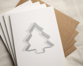 Four (4) Tree Cookie Cutter Letterpress Cards