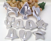 Vintage Metal Cookie Cutters Silver Heart Bells Stars Horse Tree Santas Tree Decorations Lot of 10