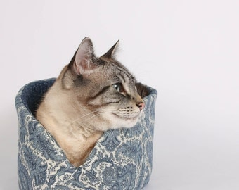 Cat Canoe a Modern Cat Bed in Ivory and Blue Paisley Fabric
