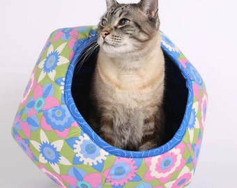Modern Cat Furniture the Cat Ball Cat Bed in Pink Flower Fabric