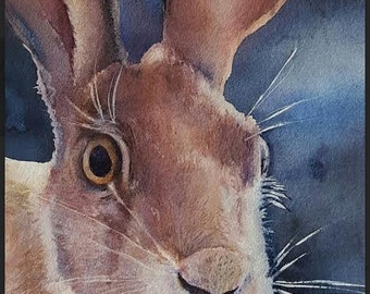 Surprise!!! original watercolor of rabbit