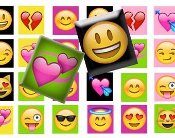 Emoji scrabble tile digital collage sheet,  Emoji digital download,  Printable emoji download, Pendants,  Magnets, Scrabble tiles