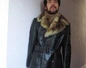 reserved Vintage Men's Black Leather & Fur Trench Coat 38 mint