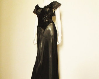 30s Vintage Sheer Black Silk Satin  Lace Night Gown medium